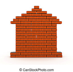 brick house - flat wall from a brick with cement 3d model