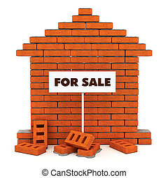 brick house for sale - flat wall from a brick with cement...