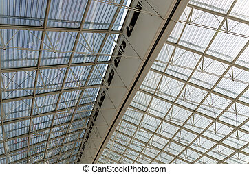 Roof Structure Detail of Charles de Gaulle airport in Paris,...
