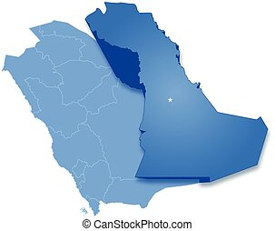 Map of Saudi Arabia, the region Eastern Province is pulled...