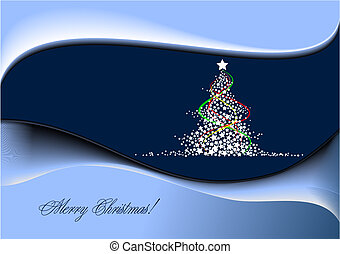 Christmas - New Year tree with Santa image. Vector illustration