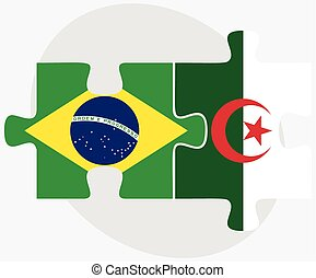 Brazil and Algeria Flags in puzzle isolated on white...