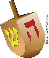 Dreidel on white isolated background Vector illustartion