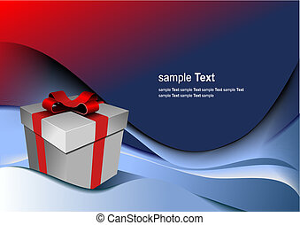 Bright gift box by any holiday. Vector illustration
