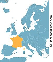 Europe map with indic of France - Europe map with indication...