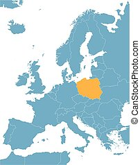 blue Europe vector map with indication of Poland
