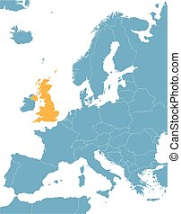blue Europe vector map with indication of United Kingdom