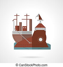 Flat color vector icon for wharf - Brown flat color style...