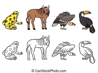 Cute animals collection Vector illustration