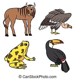 Cute animals collection. Vector illustration.