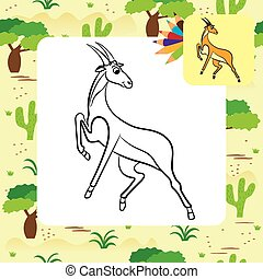 Illustration of cute antelope. Coloring page.