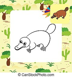Cartoon illustration of platypus or duckbill animal....