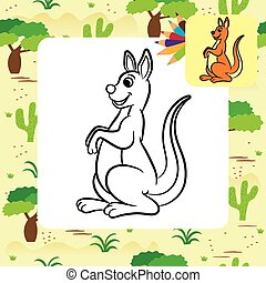 Kangaroo vector illustration. Coloring book. Vector...
