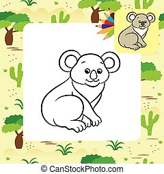 Koala bear vector illustration. Coloring book. Vector...