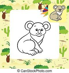 Koala bear vector illustration. Coloring book. Vector...