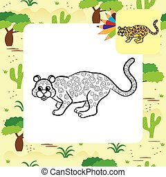 Leopard vector illustration. Coloring book. Vector...