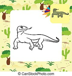 Illustration of varan (komodo dragon). Coloring book.