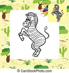 Zebra vector illustration. Coloring
