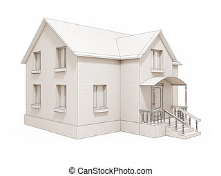 new private house isolated silhouette on white background 3d...