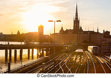 Railway tracks and trains in Stockholm, Sweden. - Railway...