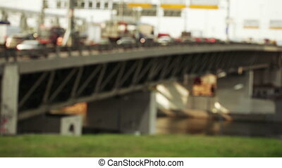 Traffic across bridge bokeh - Boke accelerated movement of...