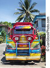 Colorful Filipino jeepney - Frontal view of a Filipino...
