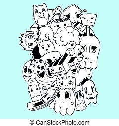 Handmade and doodles elements background.T-shirt and sweatshirt design. Vector illustration