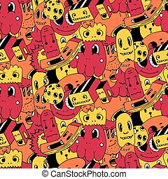 Handmade  doodles elements seamless pattern. Vector illustration