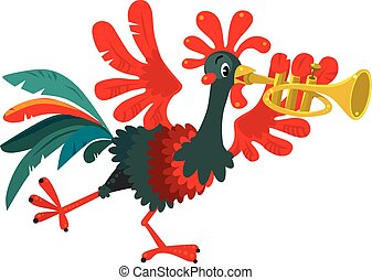 Funny rooster plays the trumpet - Children vector...