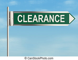 Clearance. Road sign on the sky background. Raster...