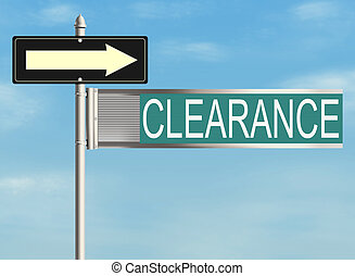 Clearance Road sign on the sky background Raster...