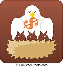 Birds in nest vector - Metaphoric illustration depicting...