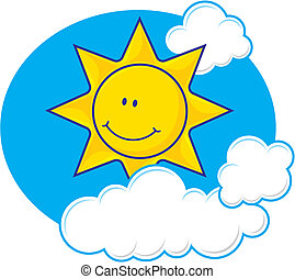 Sun with clouds vector