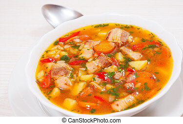 soup with meat, rice and vegetables