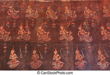 Traditional Thai style painting art.