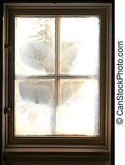Frosty window - Old window From the inside looking out