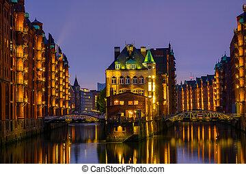 The historic Speicherstadt, Hamburg