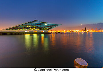 The Dockland building in Hamburg at night