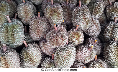 fresh durian in the market.