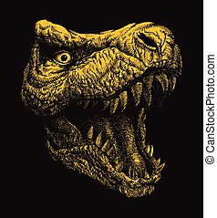 Trex. Hand drawn Vector illustration. - Trex. Hand drawn....