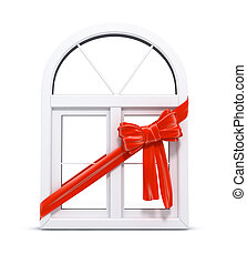 Plastic window with red ribbon gift