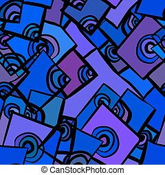 Hand-drawn abstract geometric background in shades of blue,...