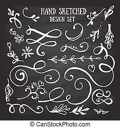 Hand drawn set of vintage elements, flowers and leaves,...