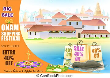 Happy Onam shopping Offer - easy to edit vector illustration...