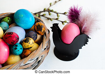 Easter Decoration with Eggs and Easter Cup in Hen Shape