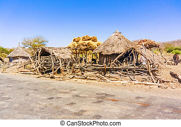Derek Abay, village in Ethiopia - View at the houses in...