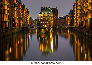 The old Speicherstadt in Hamburg, Germany, at night