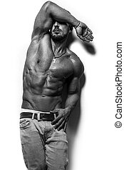 fitness male model with sixpack - fitness male bodybuilder...