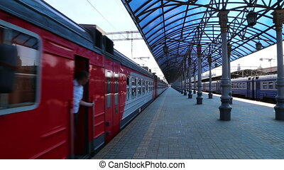 Train on Moscow passenger platform (Yaroslavsky railway...