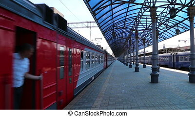 Train on Moscow passenger platform Yaroslavsky railway...